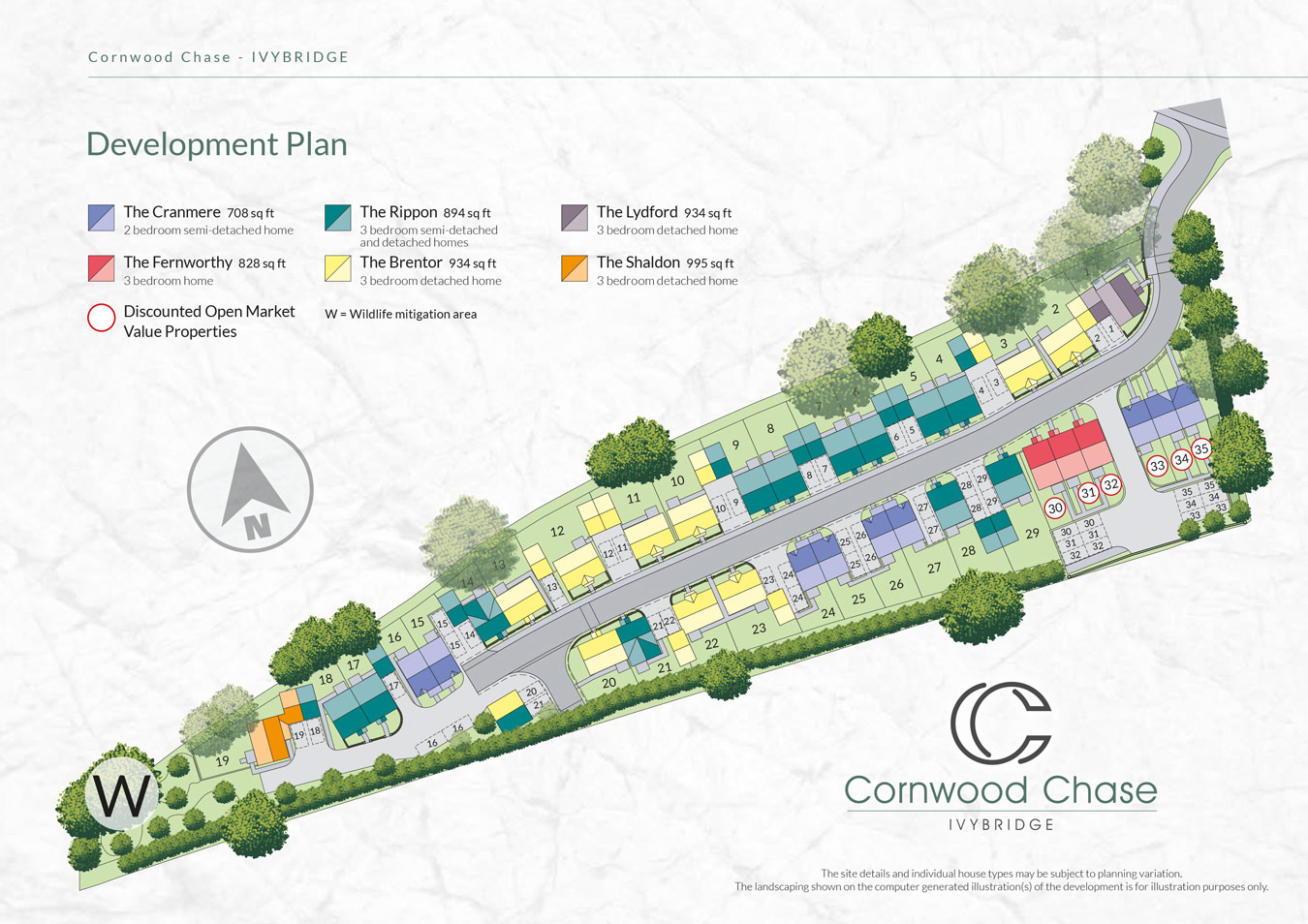 Cornwood Chase  New Homes Development - Site Layout