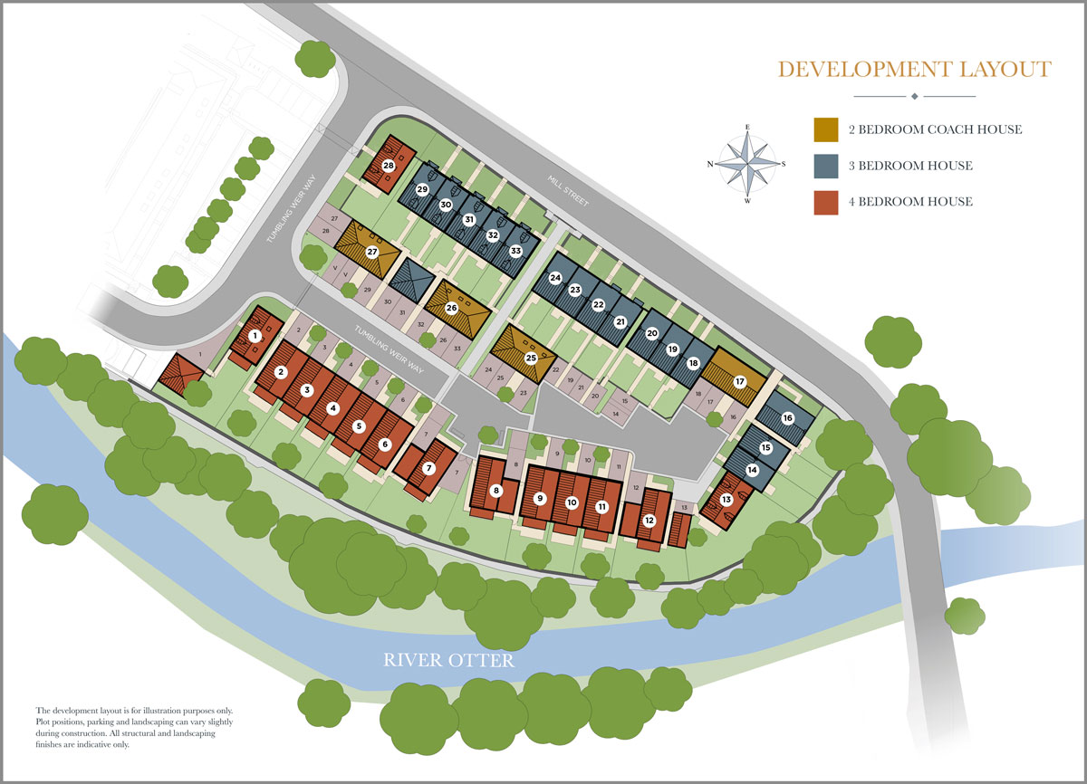 Otters Holt, Ottery St Mary New Homes Development - Site Layout